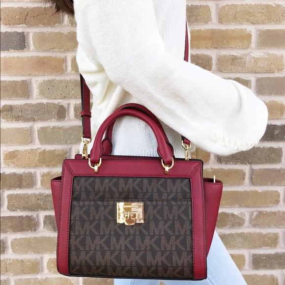 9eea5eebe80190 Michael Kors Bags | Nwt Tina Smallsatchel Brown Mk Cherry | Poshmark